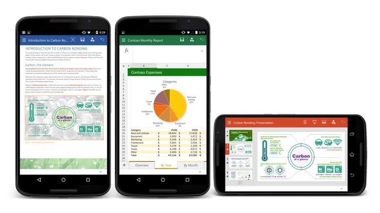Android excel office powerpoint Preview word