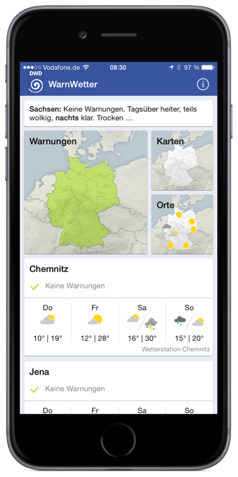Android app dwd iOS warn Wetter