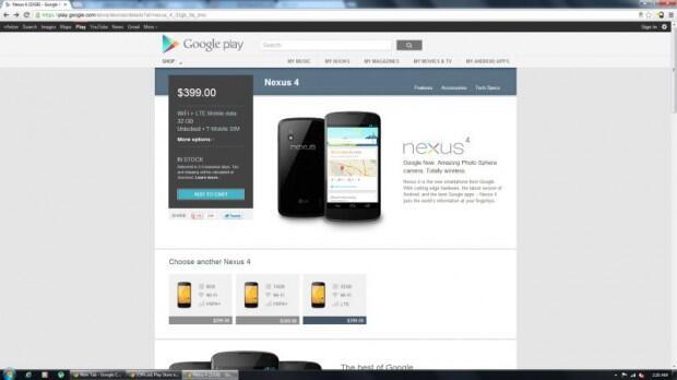 Android Google LTE nexus nexus 4 Smartphone