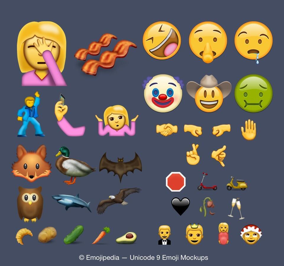 2016 Android Emoji iOS neu Unicode Update Windows