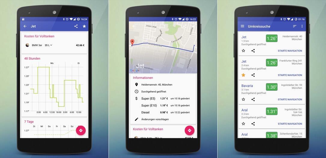 Android app Benzin navigator Tanken Update