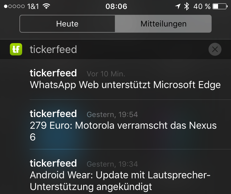 Android feed iOS mobiflip News rss ticker