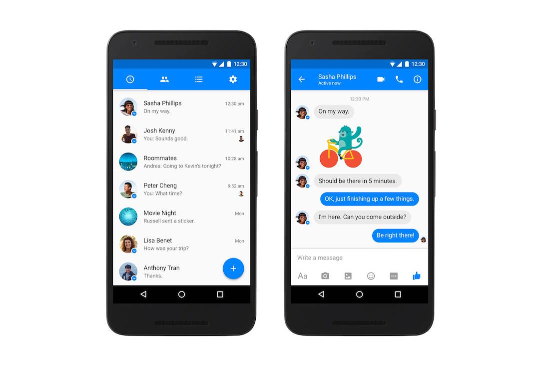 Android design facebook material Messenger Update
