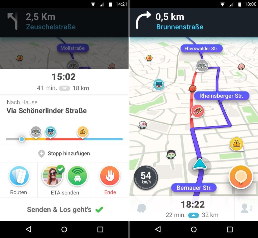 Android Google navigation Waze