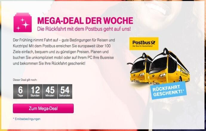 aff bus deal Gutschein post Reisen Telekom