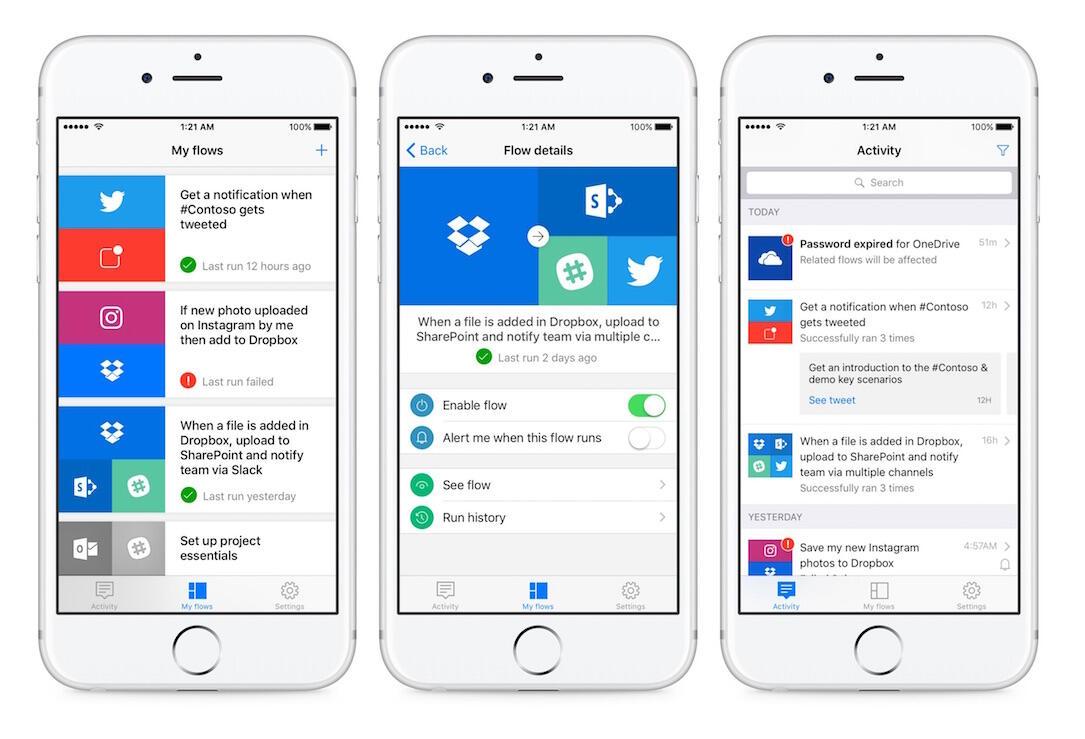 Android app Flow IFTTT iOS microsoft