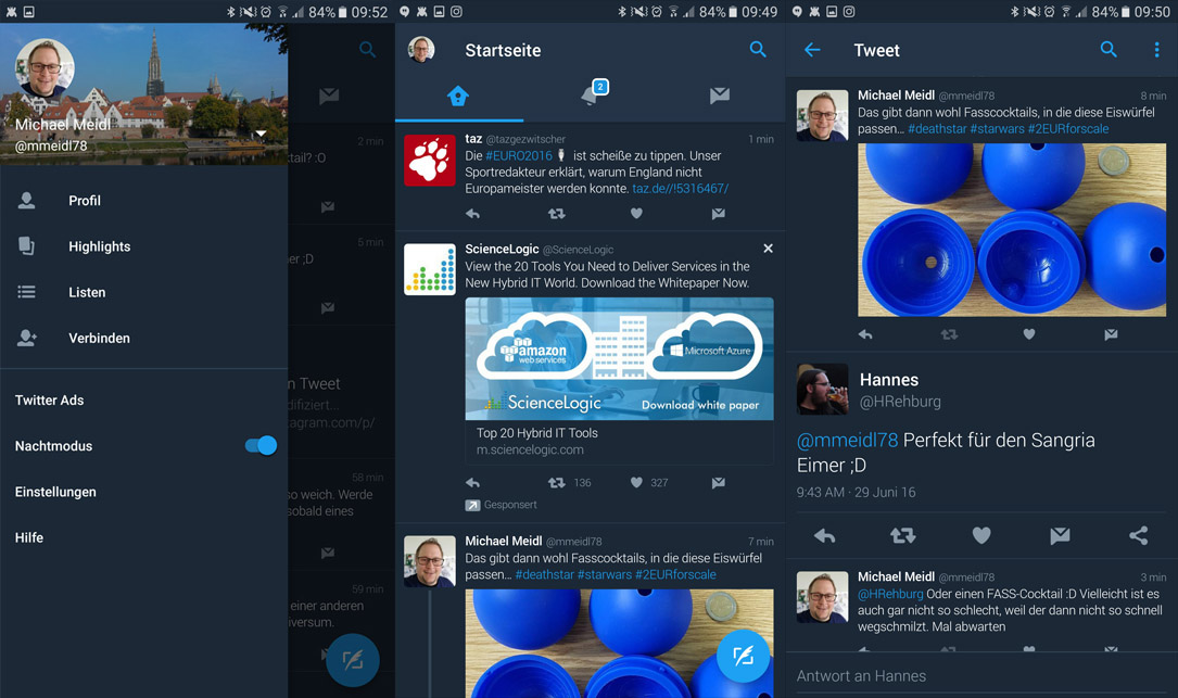 Android nachtmodus social twitter