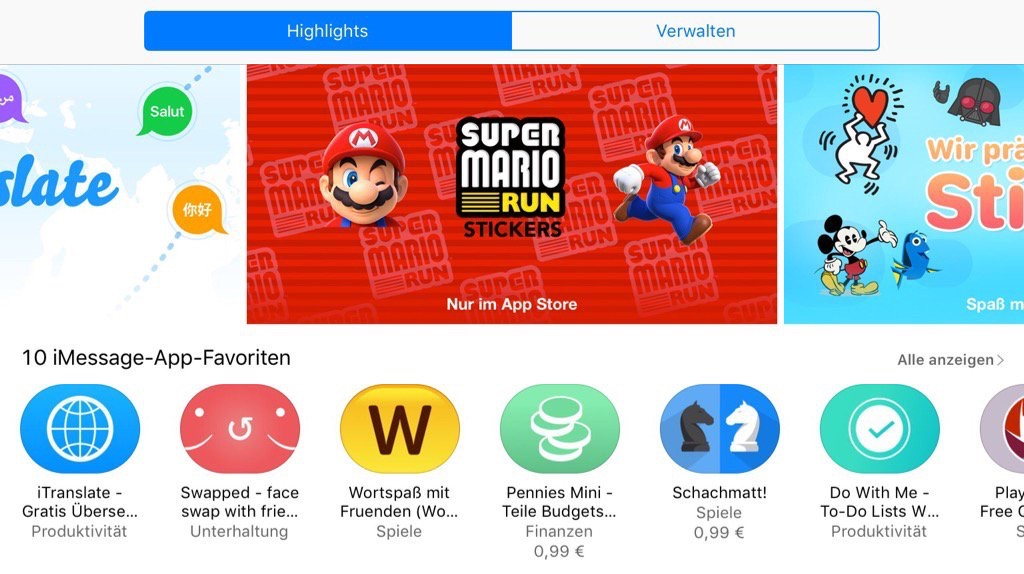 download imessage iOS iPad iphone Kostenlos sticker Store super mario tipps tricks wie