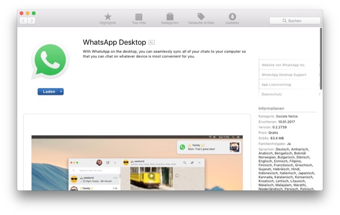 Apple mac Messenger social Update whatsapp