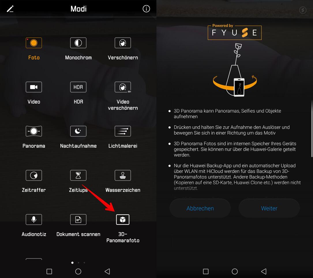 3D Panoramafoto Android Huawei Kamera plugin