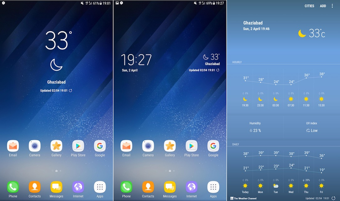 how to get the weather widget on galaxy s8