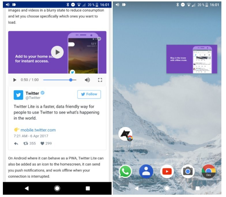 Android Bild-in-Bild Google O Update