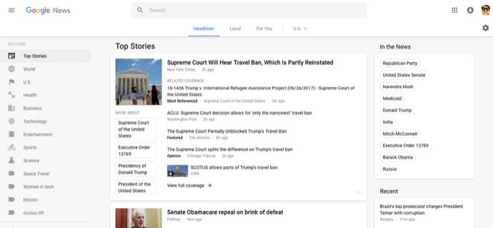 design Google News web