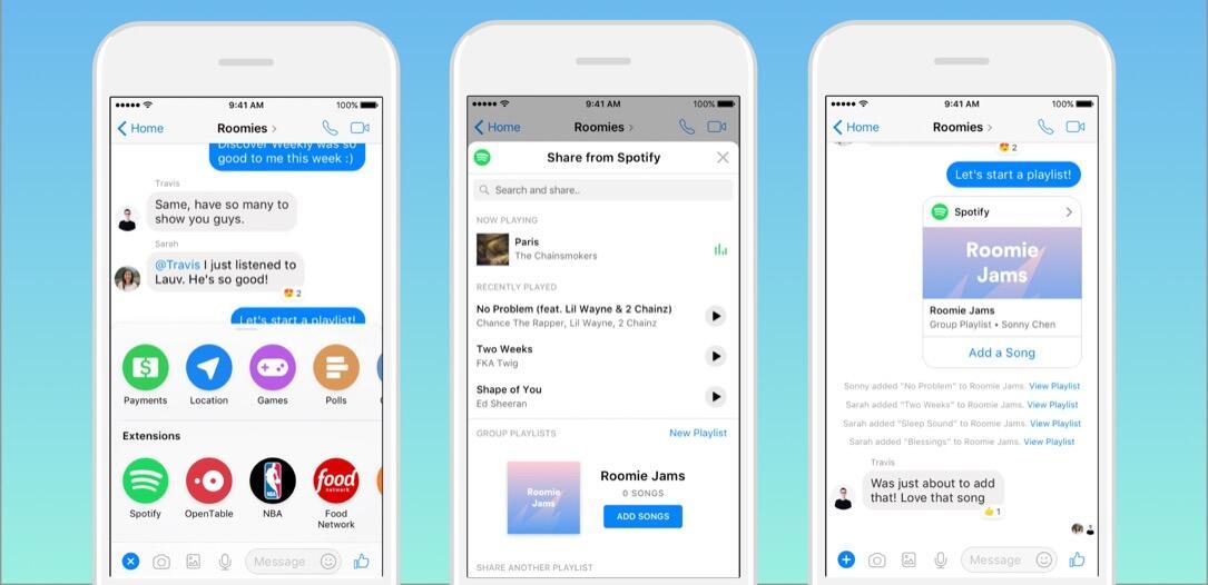 facebook Messenger Musik playlist social spotify
