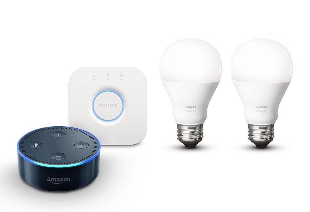 amazon echo dot und philips hue starter set f r nur 69 99 euro. Black Bedroom Furniture Sets. Home Design Ideas