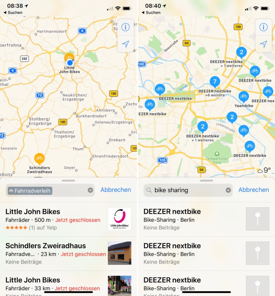 Apple bike Fahrrad iOS karten Maps