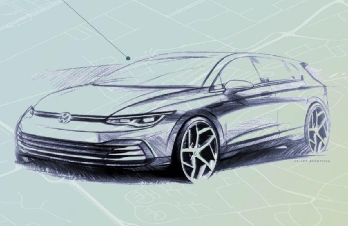 VW Golf 8: Volkswagen zeigt Skizze vom Design und Interieur